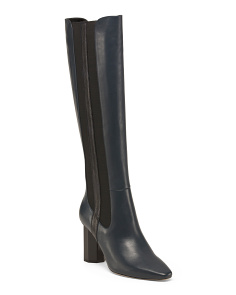 Python Print Knee High Leather Boots
