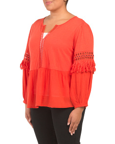 Plus Cutout Peasant Top