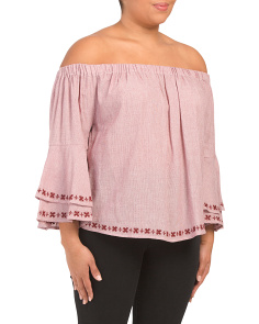 Plus Embroidered Off Shoulder Top
