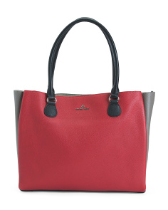 Leather Color Block Large Tote
