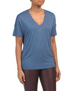 Drop Shoulder V Neck Top