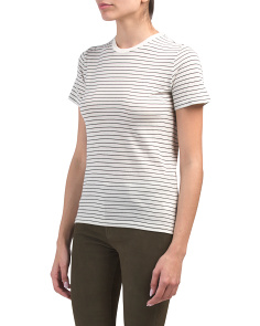 Pima Cotton Pencil Stripe Crew Neck Top