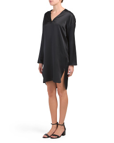 Silk V Neck Tunic Dress
