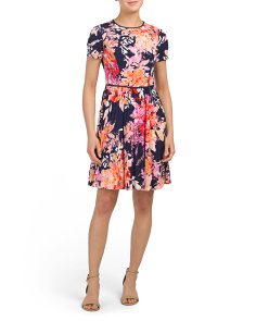 Petite Floral Pleat Skirt Dress