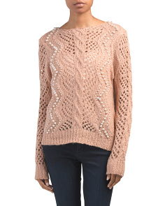 Cable Knit Sweater With Pearl Detail