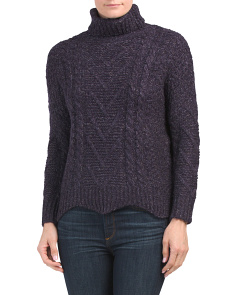 Scalloped Edge Cropped Cabled Sweater