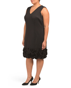 Plus Scuba V-neck With Soutache Hem