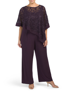 Plus Jumpsuit With Lace Overlay