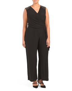 Plus V Neck Sleeveless Jumpsuit
