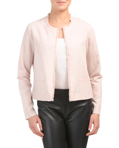 Collarless Frayed Blazer