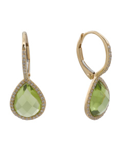 14k Gold Diamond And Peridot Pear Shaped Drop Earrings