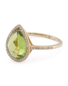 14k Gold Diamond And Peridot Pear Shaped Halo Ring