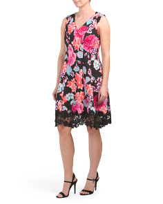 Petite Floral Scuba Fit & Flare Dress