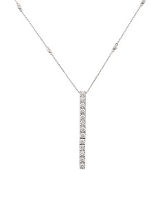 14k White Gold Diamond Linear Stick Necklace