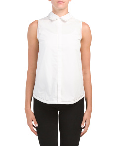 Sleeveless Tie Back Shirt With Buttons