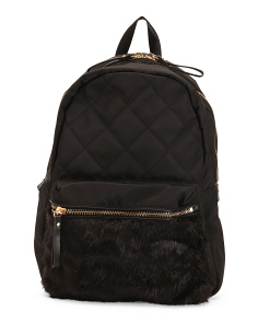 Quilted Backpack With Faux Fur Pocket