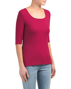 Made In Usa Ribbed Elbow Sleeve Square Neck Top