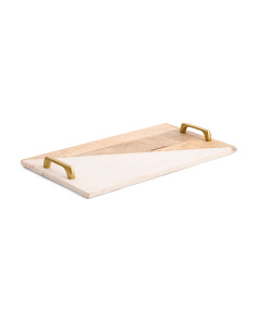 Made In India Wood And Marble Tray
