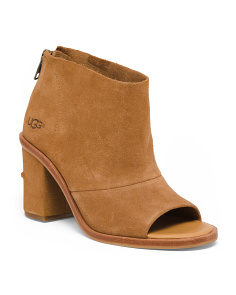Peep Toe Suede Booties