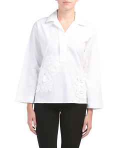 Collared Shirt With 3d Embroidery