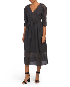 Long Sleeve Wool Blend Gauze Dress