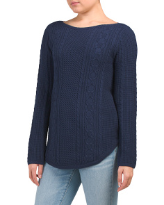 Cable Knit Round Hem Sweater