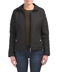 Quilted Moto Jacket With Stretch