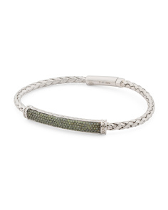 Sterling Silver And Green Diamond Bracelet