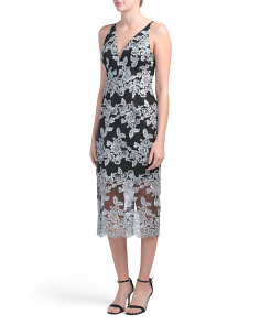 Made In Usa Lace Illusion Hem Midi Dress