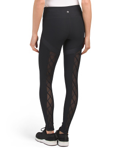 Lace Up Leggings With Cire Detail