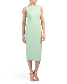 Tea Length Crepe Dress With Slit