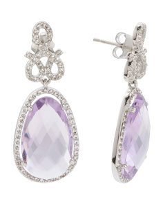 Made In Turkey Sterling Silver Amethyst Sapphire Earrings