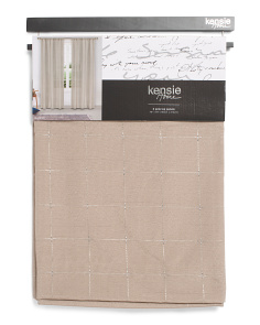 76x84 Set Of 2 Linen Look Metallic Curtains