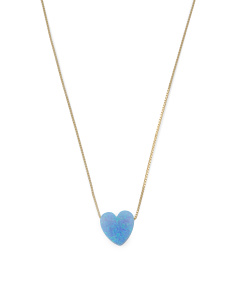 Made In Israel 14k Gold And Blue Opal Heart Necklace
