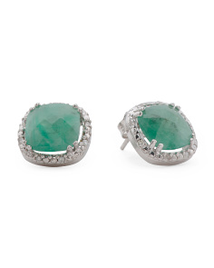Made In Turkey Sterling Silver Diamond Emerald Stud Earrings