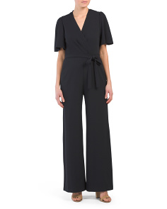 Short Sleeve Surplice Top Jumpsuit