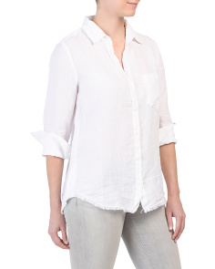 Linen Fray Hem Button Down Top