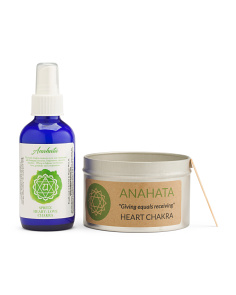 Heart Chakra Candle & Spray In Gift Bag