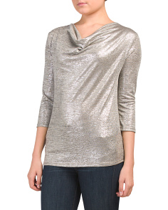 Made In Usa Metallic Cowl Neck Top