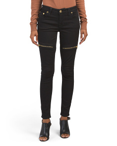 Curvy Moto Jeans With Gold Zippers