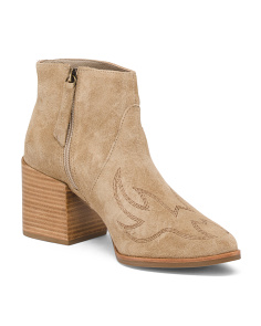 Made In Brazil Embroidered Suede Booties