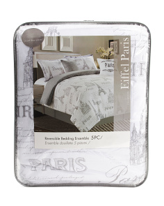 5pc Eiffel Paris Reversible Comforter Set