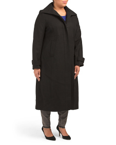 Plus Wool Blend Coat With Covered Placket
