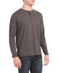 Long Sleeve Marled Micro Stripe Henley Top