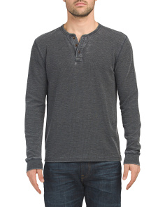 Long Sleeve Burnout Thermal Henley