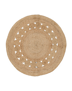 Made In India Round Jute Accent Rug