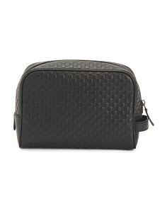 Made In Italy Gg Leather Toiletry Bag