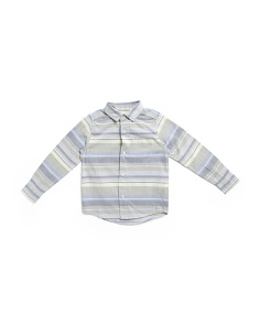 Boys Striped Oxford Button Down Shirt