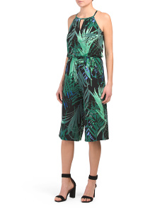 Petite Jungle Palm Gaucho Jumpsuit