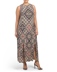 Plus Fancy Feather Medallion Carwash Maxi Dress